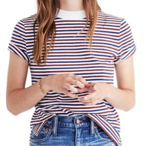 Madewell Retro Red Blue White Striped Tee